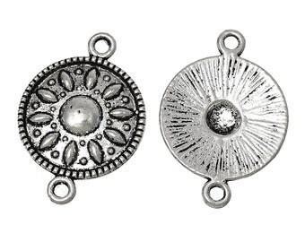 6 Antiqued Silver Sun Chandeliers/Connectors