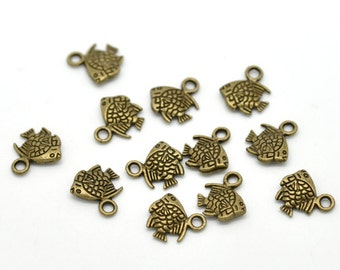 10 Bronze Tiny Fish Charms