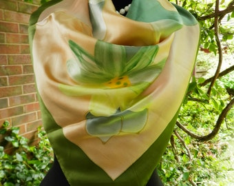 PierCarlo D' Alessio Silk Scarf With Hand Painted Floral Print And Hand Rolled Edges 1990s