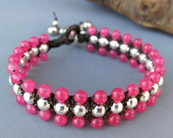 Pink Quartz Beaded Woven Bracelet with Silver Color Bead.