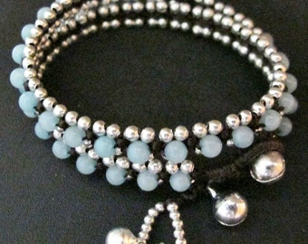 Avvolgere il bracciale - due tempo Wrap Bracciale intrecciato con Amazzonite Colore argento perline Bead