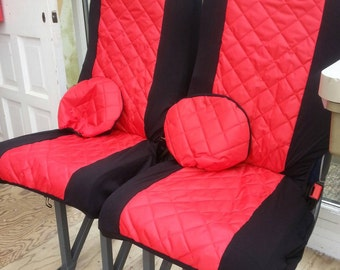 Water resistant pair front car seat covers with matching head rest covers in red water resistant fabric