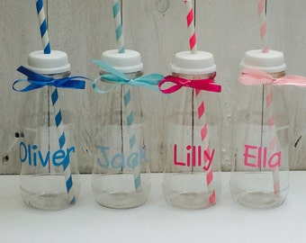 Personalised party bag mini milk bottles, favours, weddding, birthday