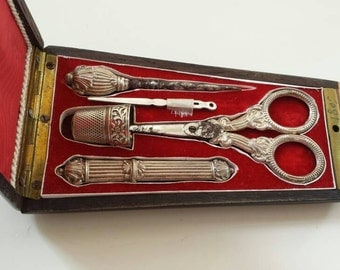 Sewing set, French silver Napoleon III