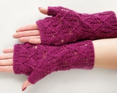 Fingerless gloves, lace wool fingerless mitts, lace wrist warmers, phone plugging fingerless mittens, knitted arm warmers