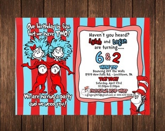 Dr. Seuss Thing 1 Thing 2 Birthday Invitation