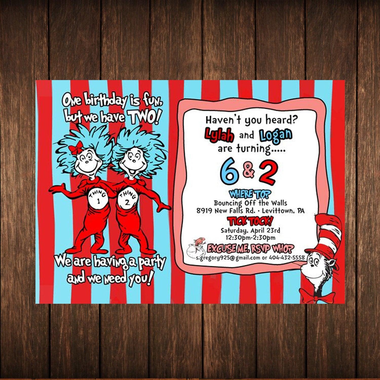 Dr Seuss Thing 1 2 Birthday Invitation