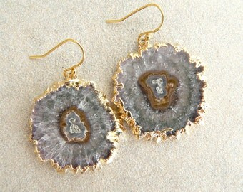 Amethyst Stalactite Gold Earrings