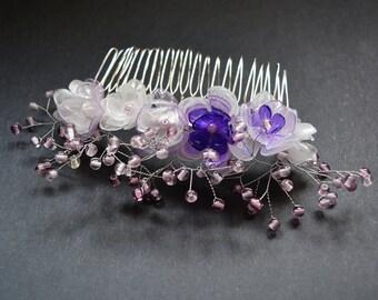 Eco friendly PET bottles purple bridal hair comb