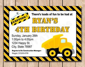 Dump Truck Birthday Invitation   Construction, Builder - 1.00 each printed or 10.00 DIY file