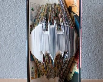 Batman - Folded Book Art - Gift for Him - Fan Art - DC Comics Art