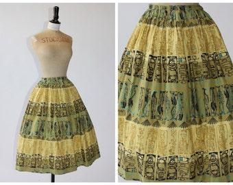 Vintage original 1950s 50s novelty print skirt in cotton Duenas Spanish theme UK 6 8 US 2 4 XS S