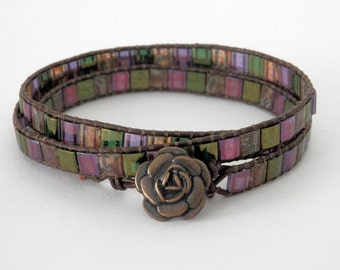 Tile Bead Wrap Bracelet, Green, Purple, Brown, Triple Wrap, Brown Leather Cord, Button and Loop Clasp, Leather Cord Bracelet