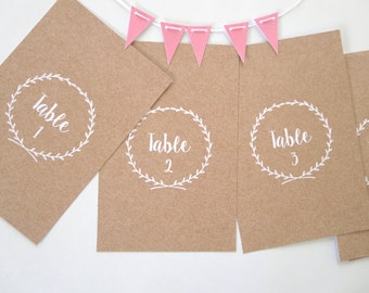 Rustic Wedding Table Number Cards x 10 (1-10)