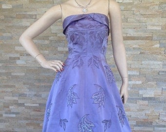 Original 1950s lilac beaded prom/ evening gown by Helen Kaye