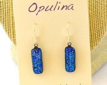 SALE Dichroic Earrings Blue