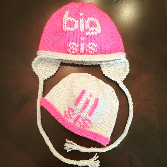 PAIR of hats: Big sis/bro and lil sis/bro - price is for TWO
