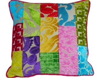 Patchwork cushion cover Designers Guild fabric
