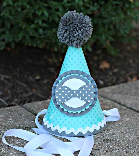 BOWTIE BIRTHDAY HAT Boy 1st Birthday Little Man Mustache Bash Gentleman Mr ONEderful Turquoise And Gray