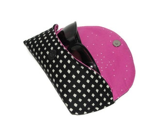 Black & White Sunglasses Case, RTS, Cotton + Steel Mini Squares, with Pink Sprinkles, Paper Bandana, Polka Dots