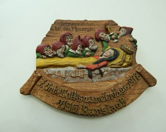 1978 Snow White Seven Dwarfs Ranstadt Germany Wall Plaque