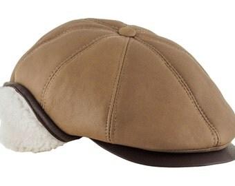 Warm Natural Shearling Sheep Skin Antek Flat Cap with Foldable Earflap - cappuccino
