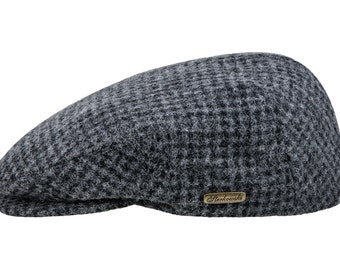 Classic Snap Bill Ivy League Cap Wool and 10% of Cashmere - dark gray / black houndstooth