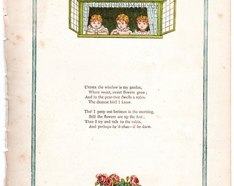 Kate Greenaway chromolithograph Under the Window / Will you be my little wife c1880 wall childrens nursery art #00001