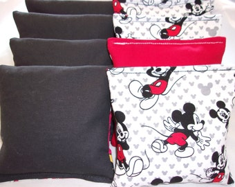 8 ACA Regulation Cornhole Bags -  Mickey Mouse and Solid Black