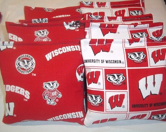 8 ACA Regulation Cornhole Bags - NCAA Wisconsin Badgers on 2 Different Prints