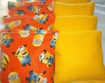 8 ACA Regulation Cornhole Bags -  The Minions and Solid Yellow Bags