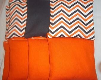 8 ACA Regulation Cornhole Bags - Solid Orange & Chevron Stripes