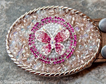 Pink Rhinestone Butterfly Buckle, Cowgirl Bling Belt Buckle, Western Belt Buckle, Pink Bling Buckle