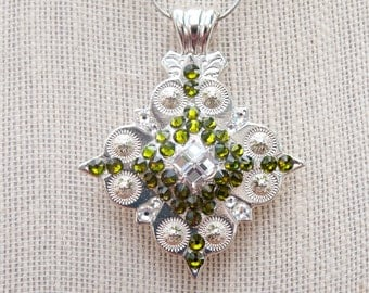 Diamond concho necklace, green crystal concho necklace, bling concho, cowgirl bling