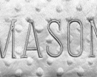 Monogrammed Contoured Minky Dot Changing Pad Cover with baby's first name