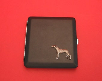 Greyhound Dog Black Faux Leather Cigarette Case with Hand Cast Pewter Motif Mother Father's Day Gift