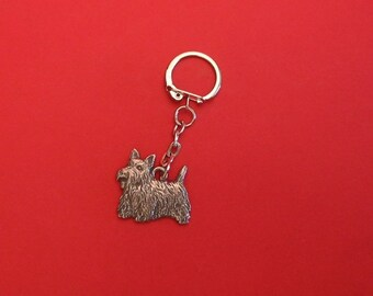 Scottish Terrier Pewter Motif Keyring Fathers Day Gift Pet Gift Scottie Dog Gift