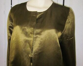 "1990s Avocado Green Linen/Silk Jacket by ""Eileen Fisher,"" Size M -L"