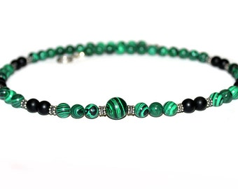 Men's Green Malachite and Matte Black Onyx Sterling Silver Toggle Clasp Necklace
