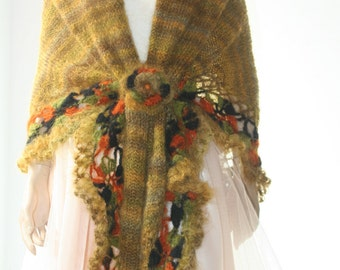Hand Knitted Triangle Shawl mohair green/Accessories Shawl Shrug Bolero /Crochet Elegant Brooch /Women Gift