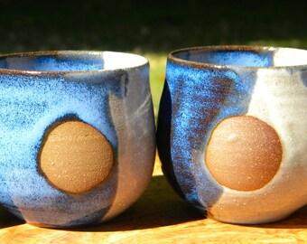 Blue and White Full Moon Ceramic Tumblers
