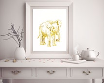 Popular items for elephant print on etsy Silver elephant home decor