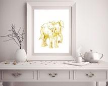 Popular items for elephant print on etsy Silver elephant home decor