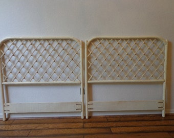 2  Headboards Vintage Rattan Twin Peacock Sunshine Single Bed Beachy Woven Wicker Chinoiserie Boho Chic Bohemian Eclectic Faux Bamboo