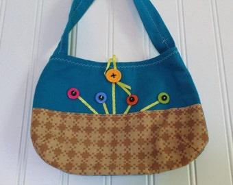 Handmade Little Girl's Purse Chaange Purse Teen Purse Vintage Fabric Upcycled Bag Vintage Handbag