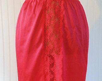 Vintage Red Half Slip With Lace Trim Size Medium Vintage Red Slips Vintage Lingerie