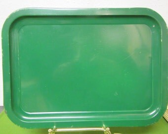 vintage Set of 4 Green  Metal LAP TRAYs , TV Trays or Serving Trays .