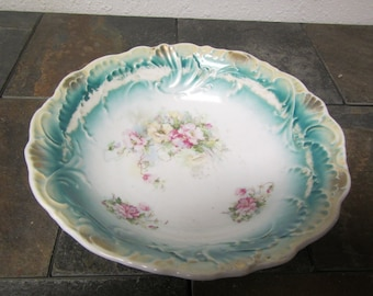 vintage Large DECORATIVE PAINTED BOWL  :  9 3/4 in. across by 2 3/4 inches tall