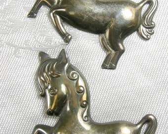 A Pair of Prancing Pony Pins ~ 925 Sterling Silver ~ Truart