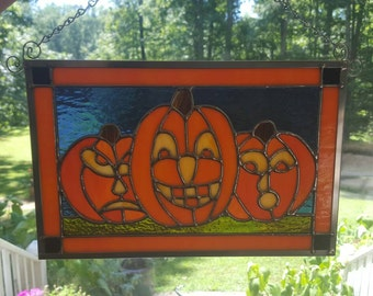 Stained Glass Pumpkin Trio